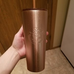 Rose gold glitter Starbucks tumbler